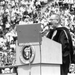 "Pres. Lyndon Johnson elviereing ""Great Society"" Speech at UM Commencement, 1964"